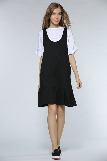 Plus Size Women Spring Black Cotton Tank Preppy Style Dress White