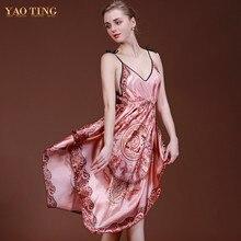 New Summer Women Stap V-neck Print Silk Women Knee-length Loose Nightgown Sleepshirt Homewear Sleepwear Dress