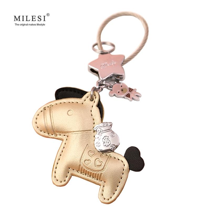 Milesi 가죽 열쇠 고리 말 모양 가방 펜던트 키 체인 오리지널 매력 자동차 키 링 악세사리 귀족을위한 귀여운 선물 K0141 K0142