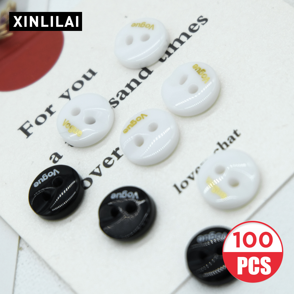 10MM 100pcs Resin Black and White Buttons Round Two Holes Wooden Letter Coat/ Shirt Sewing Fastener