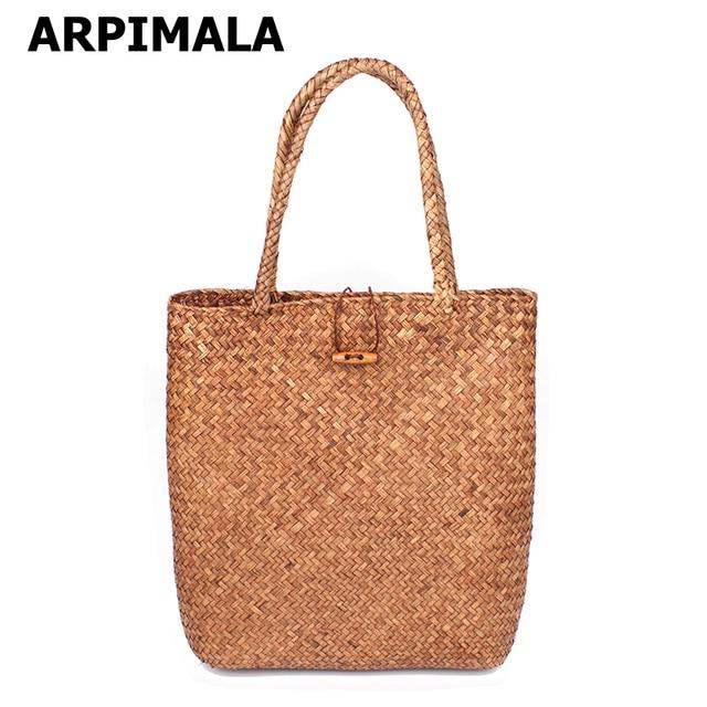 Arpimala 2017 пляжная сумка для летом большая соломенная Сумки ручной тканые tote Для женщин Путешествия Сумки Роскошные Дизайнерские Торговый рук Сумки