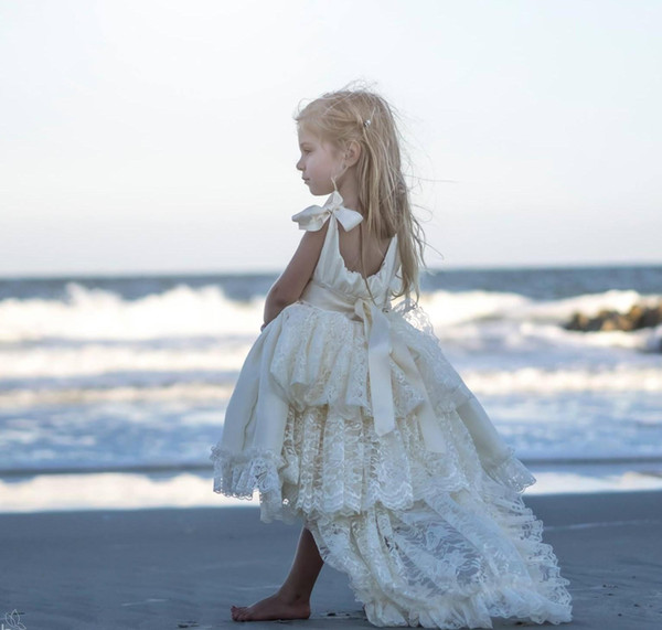 High Low   Flower     Girls     Dresses   2019 Satin Lace Ivory Princess Pageant   Dresses   for   Girls   Ribbon Straps Pearls Boho Beach Weddings