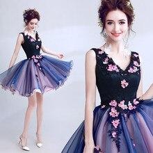 Lila Sexy Ballkleid V ausschnitt Spitze Blumen Appliques Perlen Kurze Abendkleider Braut Bankett Party Prom Kleid XK54