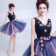 Purple Sexy Ball Gown V neck Lace Flowers Appliques Pearls Short Evening Dresses Bride Banquet Party Prom Dress XK54