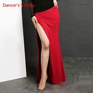 Image 4 - Belly Dance Clothing Colors 4 Professional Split Long Skirts Wrapped Women Skirt Cheap Belly Dance Skirt