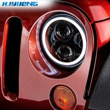 "Para Land Rover Defender 7 ""Polegada 50 w LED Faróis Alta Low Beam Angel Eye DRL Âmbar Turn Signal para Jeep Wrangler JK Luzes Led"