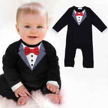 New Fashion Baby Boy Gentleman Suit Clothes Baby Boy Cotton Jumpsuit Rompers Newborn Crawling Clothing For 6-24 M Infant Boy(China)