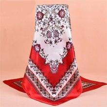 Mode femmes écharpe impression foulard de soie foulard femmes châle  Bandana90   90 cm hijab ethniques 8b17873695c