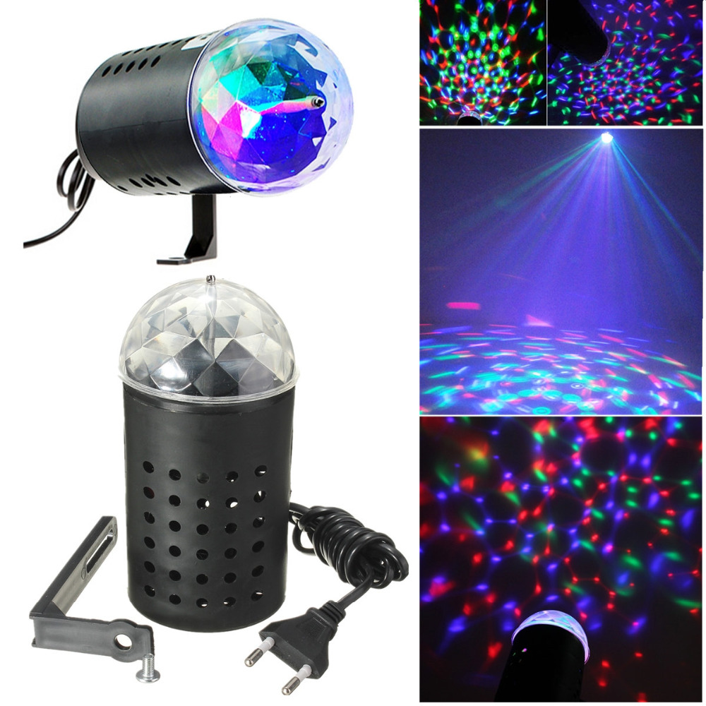 EU / USA Plug New RGB 3W Crystal Magic Ball Laser Stage Lighting For Party Disco DJ Bar Bulb Lighting Show