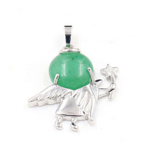 FYJS Unique Silver Plated Cute Angel Star with Original Green Aventurine Round Bead Pendant Trendy Jewelry