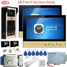 9″ Video Door Phone Intercom System With 2 Monitors Outdoor Rfid Keypad Unlock Camera Electric Strike Door Lock +8GB TF Card Kit