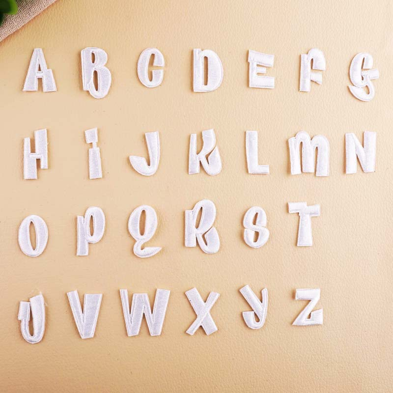 English Letters alphabet embroidered patches white applique iron on letters for clothes shoes bags application for kids name