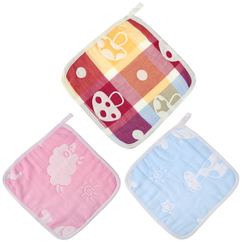 Cute Baby Towel Cotton 6-Layer Gauze Newborn Cartoon Face Hand Bathing Towel Bibs High Quality Baby Towels