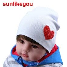 Sunlikeyou Unisex Newborn Winter Cap For Boy Girls Kids Hat Love Rhinestone Cotton Soft Elastic Baby Beanie Bonnet