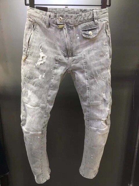 2019 חדש אופנה Ripped איטלקי סגנון ג 'ינס גברים טלאים הולו מתוך מודפס קבצן קצוץ מכנסיים Man הבוקרים Demin מכנסיים זכר