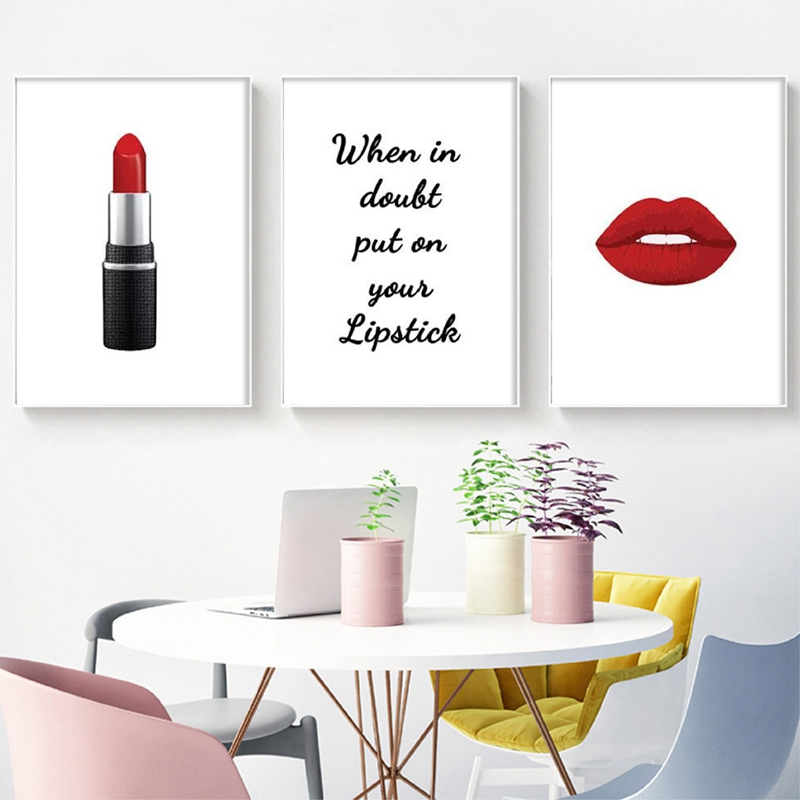 Red Lipstick Makeup Posters Print , Lipstick Quotes Wall Art Canvas Painting Beauty Salon Make Up Wall Pictures Girls Room Decor