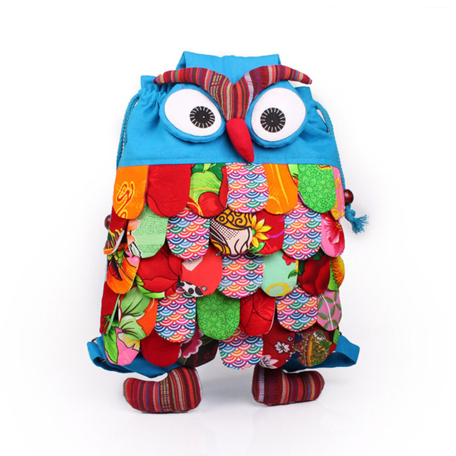 Large Floral Owl Bag Bagpack Backpack New 2017 for Kids Girl Cartoon Cute Owl Backpack Cylinder Linen Children 5 Layers Feathers