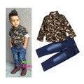 2015 Outono crianças menino conjunto de roupas de moda bebê meninos padrões de Camuflagem camisa de manga Comprida + calças de brim menino roupas de estilo Europeu