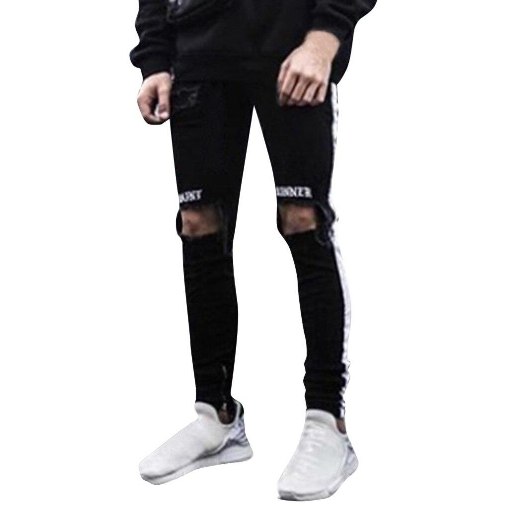 Mutter & Kinder Womail Männer Denim Stickerei Baumwolle Gerade Loch Tasche Hosen Distressed Jeans Hose Mode Hose M300110 BüGeln Nicht Decke-schwellen