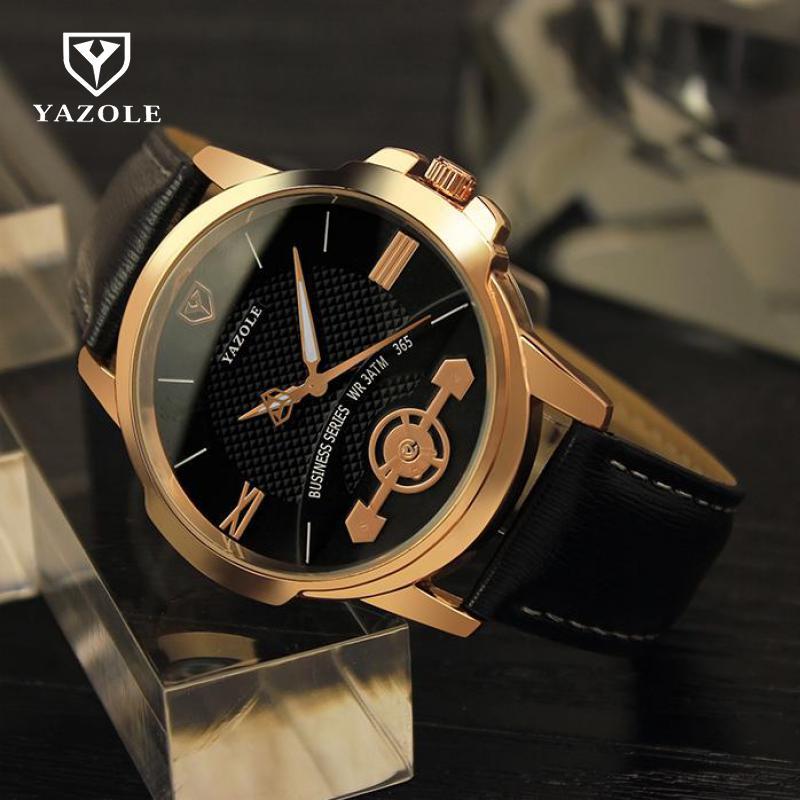 2018 Luminous Luxury YAZOLE Pointer Business Dress Leather Quartz Wristwatches Man Male Gold Watch Black Brown 365 цена