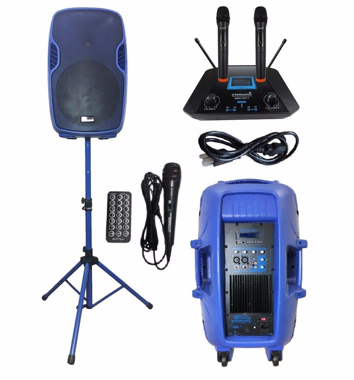 STARAUDIO Blue 15 3500W Powered Active PA DJ Stage Party USB BT Speaker with 1 Stand 1 Wired Mic 2CH Wireless Mics SSBM-15