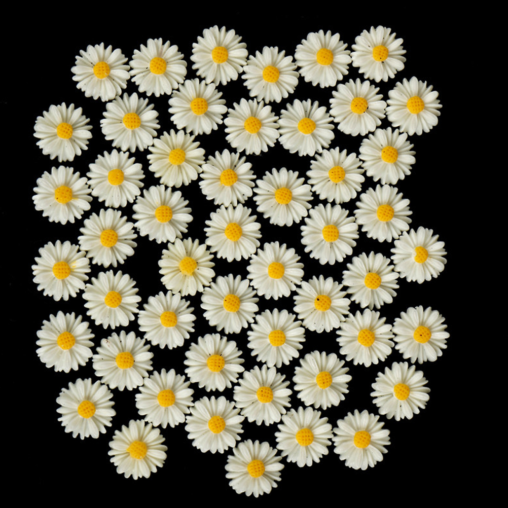 50PCS 13mm Resin Vintage Style Daisy Flower Flat Back Cameo Cabochon  For Jewelry Making Earring Accessories Wholesale