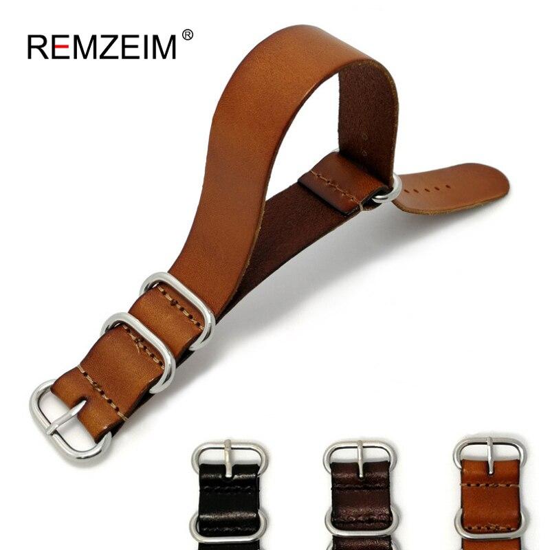 REMZEIM ZULU Leather Watchband NATO Watch Band Strap 18mm 20mm 22mm Sliver Ring Buckle Men Women High Quality Watch Accessories strap