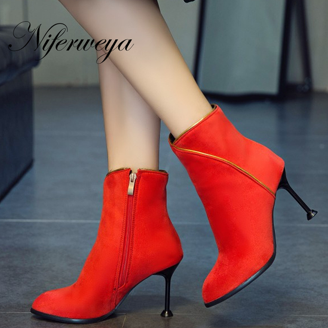 89b8120336 New Spring/Autumn red women shoes Sexy Pointed Toe thin heel high heels Big  size 31-50 Edge zipper Ankle boots zapatos mujer