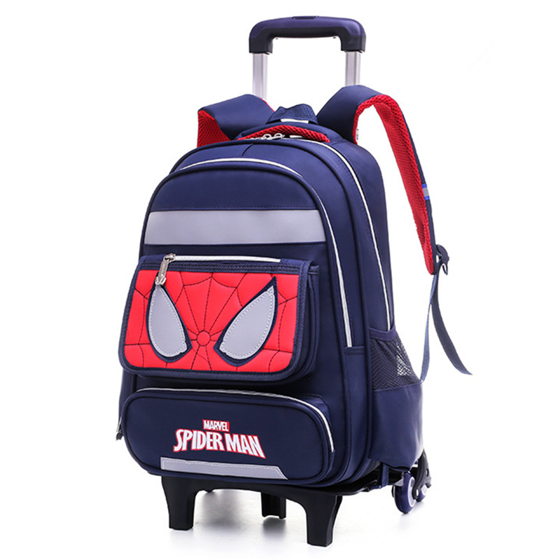 Kids School Bags Drawbars Stair Trolley Schoolbag Backpack With 2/6 Wheel Waterproof Schoolbags For Students Cartoon Mochila Bag 20222426 drawbars