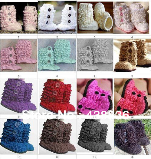 Handmade Baby Girls Crochet Snow Booties Infant Toddlers Knitted ...