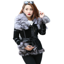 eastern fur 2017 Winter Lady pig Leather Coat Jackets with big Fox Fur collar Outerwear Coats Warm Overcoats Female jacket