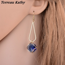 Terreau Kathy Real Shooting4 Colorss Glass Crystal Earrings Geometric Plated Gold Drop Earrings For Women Fashion Jewelry
