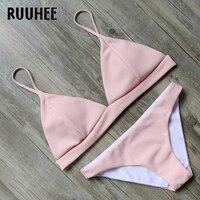 RUUHEE Brand Bikini Swimwear Women Swimsuit 2017 Bikini Set Pink Bathing Suit Beachwear Push Up Maillot