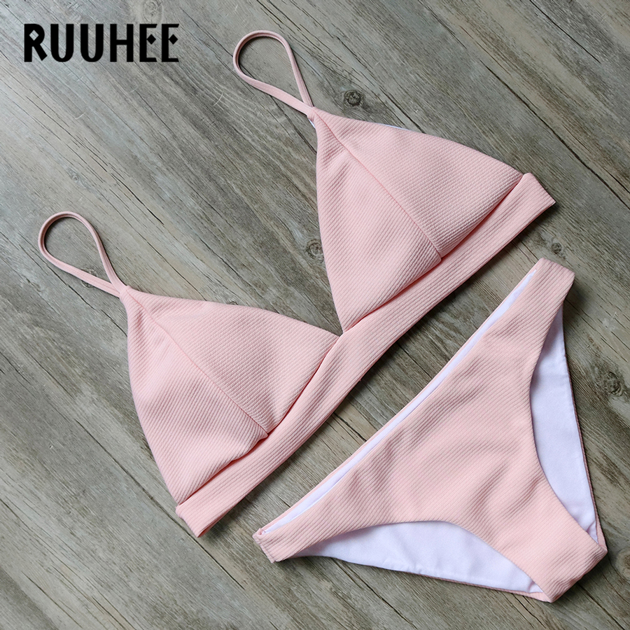 RUUHEE Brand Bikini Swimwear Women Swimsuit 2017 Bikini Set Pink Bathing Suit Beachwear Push Up Maillot De Bain Femme Swim Wear ruuhee bikini swimwear women swimsuit 2017 bikini set bathing suit reversible brazilian beachwear push up maillot de bain femme