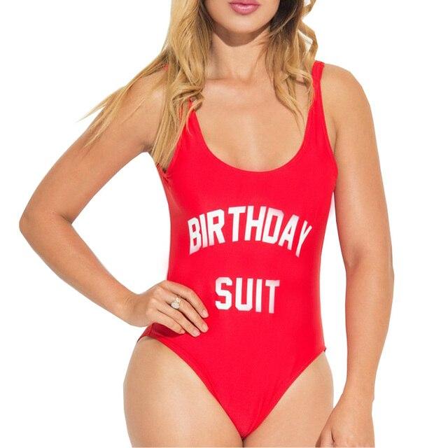 Купальники Для женщин костюм на день рождения вечерние цельный купальник Комбинезоны забавные принты с надписями Монокини-боди комбинации большой размер mayo красный