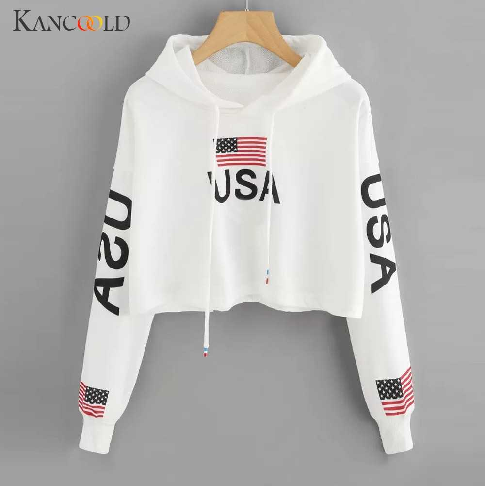 KANCOOLD Top Sweatshirts Frauen Casual Tropfen Schulter Amerikanischen Flagge Drucken Hoodie Sweatshirt Top mode sweatshirt frauen 2018DEC6