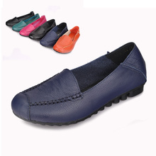 Cowhide single shoes genuine leather Moccasins mother shoes flat-bottomed single shoes soft leather quinquagenarian shoes plus
