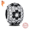 100% 925 Sterling Silver Black Enamel Pave Ball Charm Crystal Beads Fits Original Pandora Charms Bracelets DIY Jewelry Whosesale