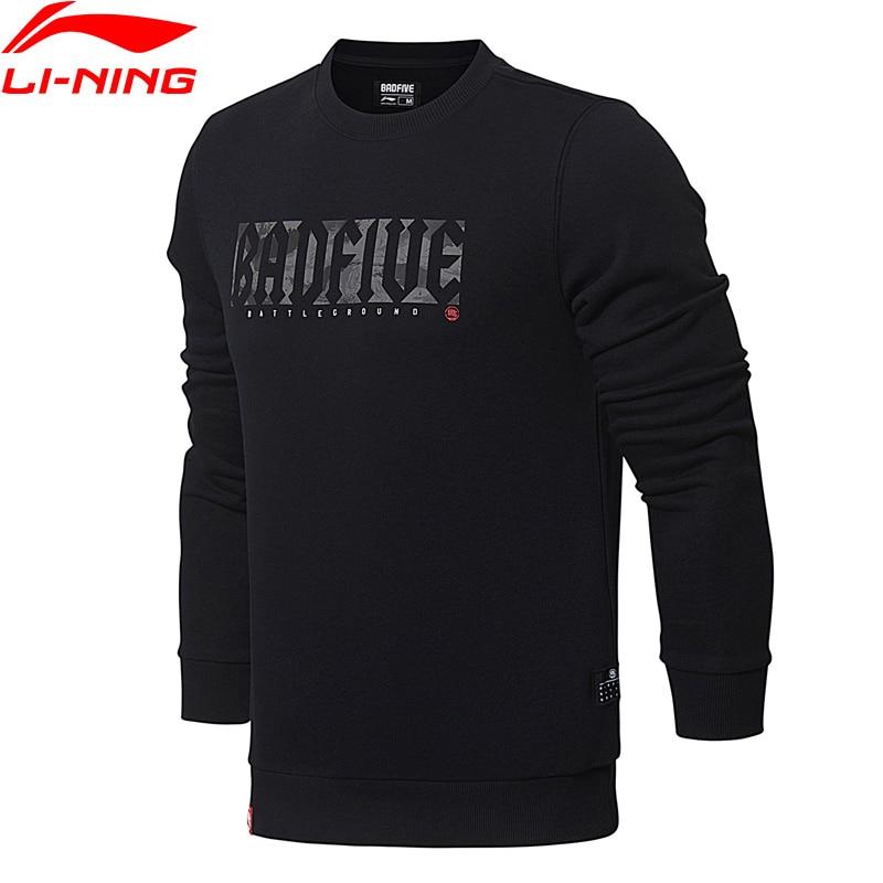 Li-Ning Men Basketball PO Knit Hoodie Sweater Regular Fit Double Fleece Comfort Jacket Fitness Sports Sweaters AWDN039 MWW1374