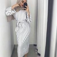 Muslim Stripe Maxi Dress Trumpet Sleeve Abaya Long Skirt Robe Gowns Tunic Kimono Jubah Middle East