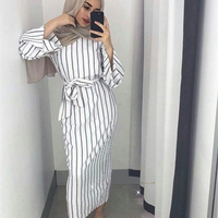 Muslim Stripe Maxi Dress Trumpet Sleeve Abaya Long Skirt Robe Gowns Tunic Kimono Jubah Middle East