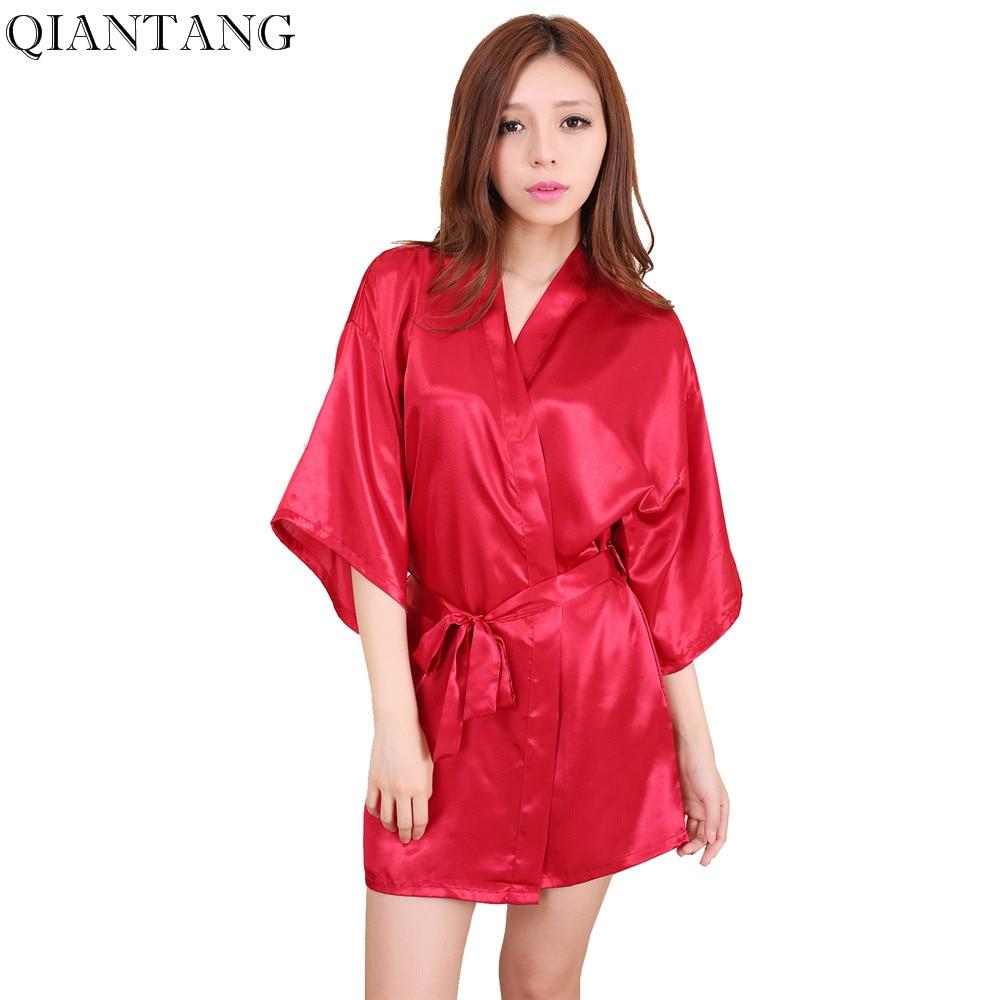 Red Female Faux Silk Robe Bathrobe Women Mini Sleepwear Kimono Bath Gown Nightgown Mujer Pijama Size S M L XL XXL LS004B