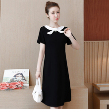 Spring and summer new style Large size XL-5XL women's dress Two dresses before and after Temperament black dress все цены