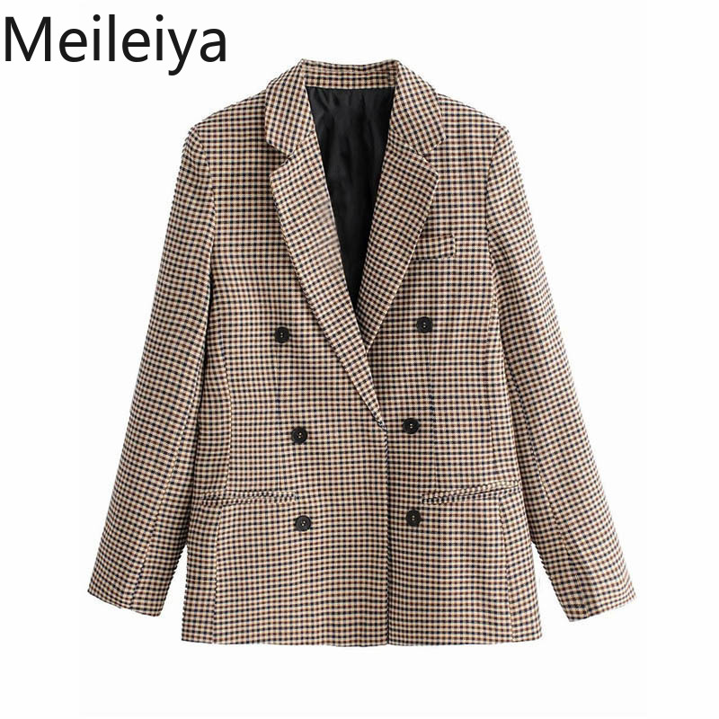 Meileiya Women Plaid Blazer Long Sleeve Double Breasted Slim Checked Coat Formal Jacket Office Suit Lady Outerwear Sprint Autumn