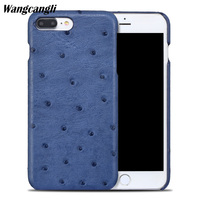Wangcangli New half pack mobile phone case for iphoen 7 case ostrich skin phone case Genuine Leather phone protection case