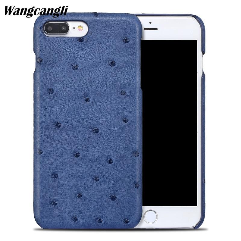 Wangcangli nouveau demi-paquet étui de téléphone portable pour iphoen 7 étui peau d'autruche coque de téléphone en cuir véritable coque de téléphone