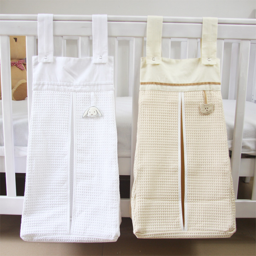 Baby crib playard - Muslin Nursery Organizer Diaper Stacker Baby Crib Playard Hanging Storage Bag Toy Diapers Caddy For Baby Bedding Set Accessories
