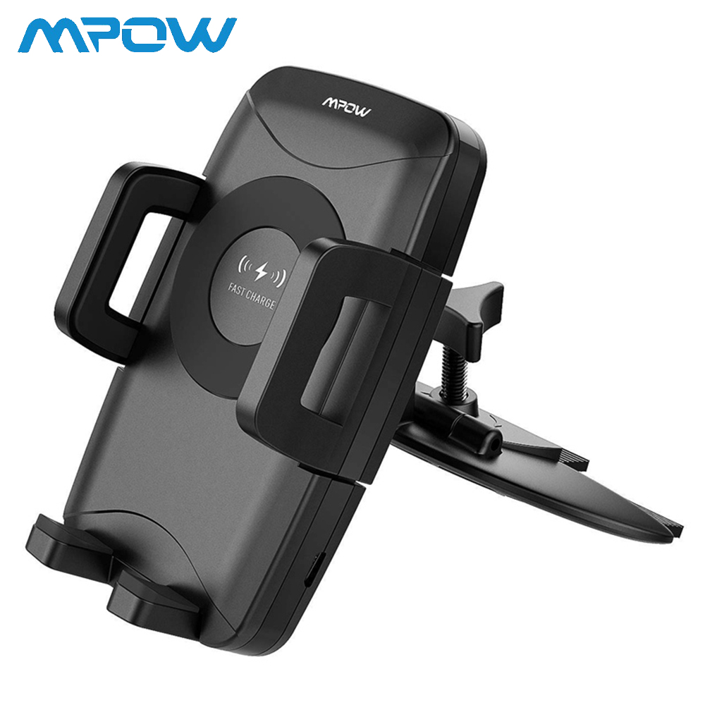 Mpow Qi Fast Wireless Car Phone Mount CD Slot 10W 7.5W 5W Auto Charging Powers For iPhone XR XS 8 8Plus Samsung S9 S8 S7 S6/edge