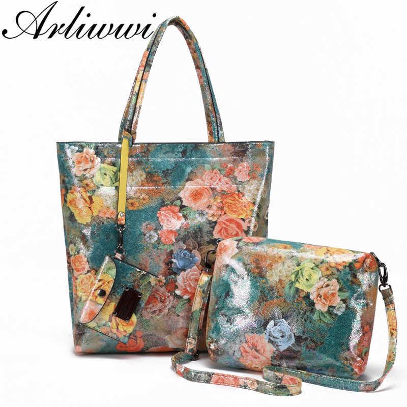Высокое качество блестящие цветочные тисненые Большие 3 шт. композитные  сумки для женщин большие сумки на 025000142c1