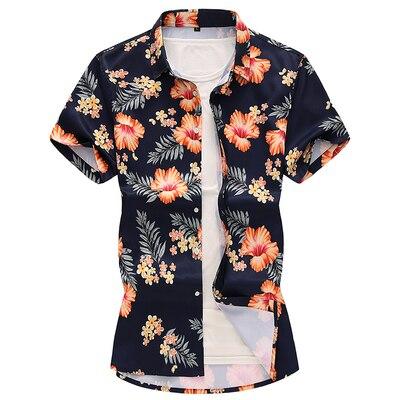 Летний модный бренд Для мужчин s рубашки Slim Fit Для мужчин с цветочным принтом Футболка с коротким рукавом Для мужчин Повседневное мужской гавайская рубашка плюс Размеры M-7XL - Цвет: 1913